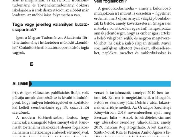 """""""Volnék, mint kő oly érzéketlen"""" Interjú Szendrey Júliáról a Protestáns Felsőoktatási Szakkollégium folyóiratában"""