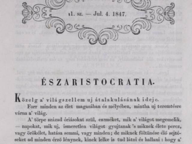 """1847. július 4. A 22 éves Jókai főszerkesztő lett és bejelentette: eljött az """"Észarisztokrácia"""" ideje"""