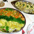 Mézes-mustáros párolthal, zöldségekkel, burgonyával, tartármártással