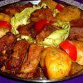 Sütőben sült sertés oldalas vele sült fűszeres krumplival