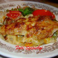 Dupla sajtos sertésszeletek, vele sült zöldséggel és burgonyával