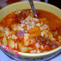 Gyöngybab - leves zöldségesen, füstölt hússal, házi csipetkével