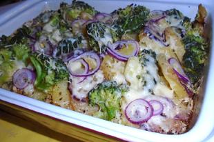 Brokkolival, csirkemellel rakott krumpli