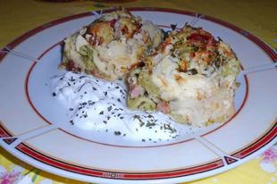 Csőben sült sonkás-brokkolis karfiol, durum penne tésztával
