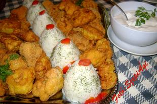 Kukoricadarás- kirántott karfiol, fokhagymás-kapros ízesítésű rizzsel és tartármártással