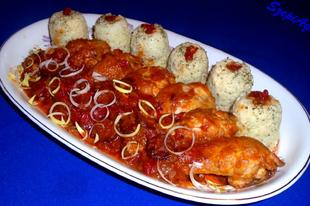 Lecsós csirkecomb petrezselymes rizzsel