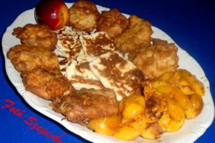 Sajtos csirkefalatkák grillezett sajttal és nektarinnal