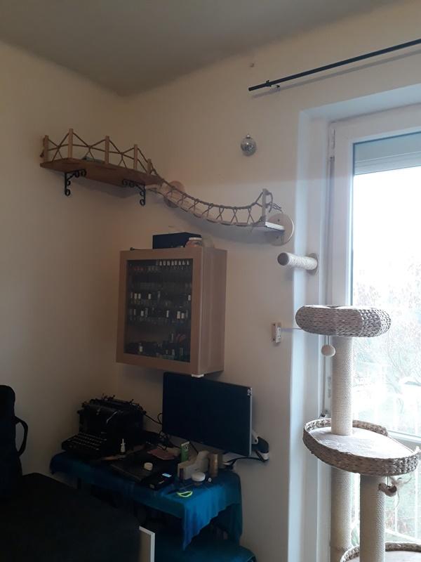 A bútor és a függőhíd alapja zooplusos jóság, a híd korlátja, sarokpolc és a függőhíd fellépője saját kreatívkodás. Az a helyzet, hogy szeretem ha olyan a végeredmény aminek mind szeretjük a látványát is. Vendégek szerint is menő a multifunkciós fali lesőhely