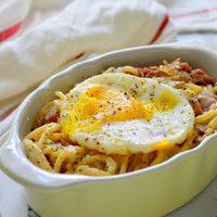 Ham and eggs spagetti