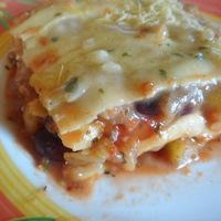 Zöldséges lasagne rizstejes besamel mártásban, növényi sajttal