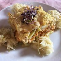 Vegán rakott zöldbab savanyú káposztával