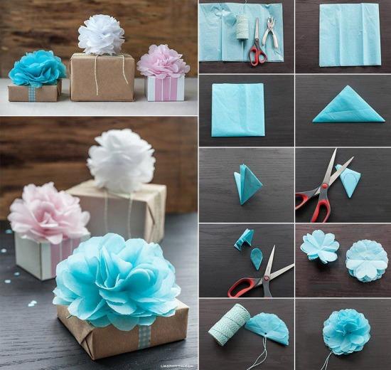 Papírzsebkendőből virág