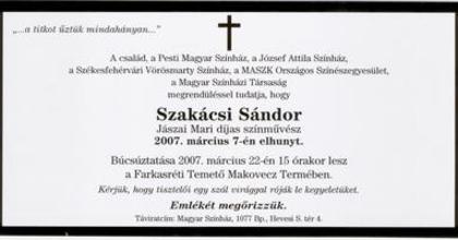 Szakácsi Sándor búcsúztatása