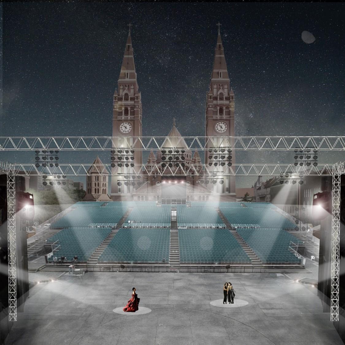 A Szegedi Szabadtéri Játékok megfordított színpadának látványterve