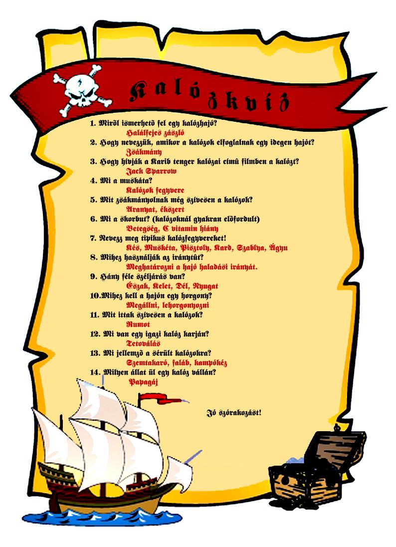 kalóz térkép gyerekeknek Kalóz party   Gyerek szülinapok