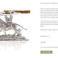 Művészi Ezüst Szivar Hamutartó - Oroszlánnal és három majommal