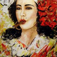 Művészet - Olaj festmény - Szivarozás