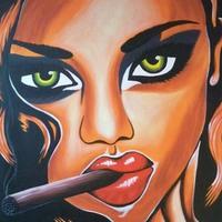 Olajfestmények szivarozó nő témakörben