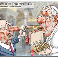 Have a cigar: Cuba's diabolical dictator stops by the Vatican to say thanks to the Pope for his help