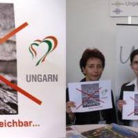 Áthúzott vulkánnal kampányolt Magyarország
