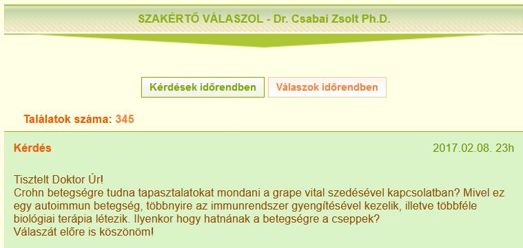 4. Csabai Zsolthoz intézett kérdés a vitaminsziget.com oldalon (forrás: <a href='https://web.archive.org/web/20170617075928/http://www.vitaminsziget.com/valaszok.php?id=7'>Internet Archive</a>