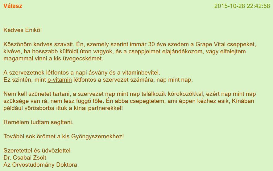 5. Csabai Zsolt válaszai betegeknek a vitaminsziget.com oldalon (forrás: <a href='https://www.vitaminsziget.com/kerdes.php?start=1500&r=2'>Internet Archive</a>)<br />