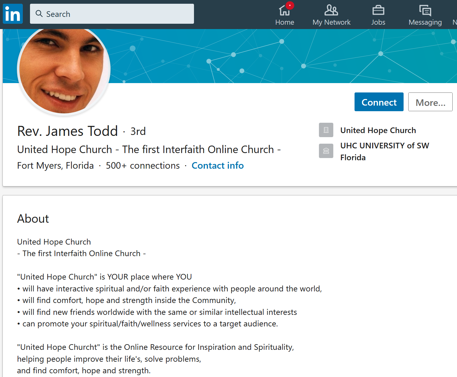 "2. kép: James Todd, ill. a ""United Hope Church of SW Florida"" <a href='https://www.linkedin.com/in/unitedhopechurch/'>oldala a LinkedIn-en</a>"