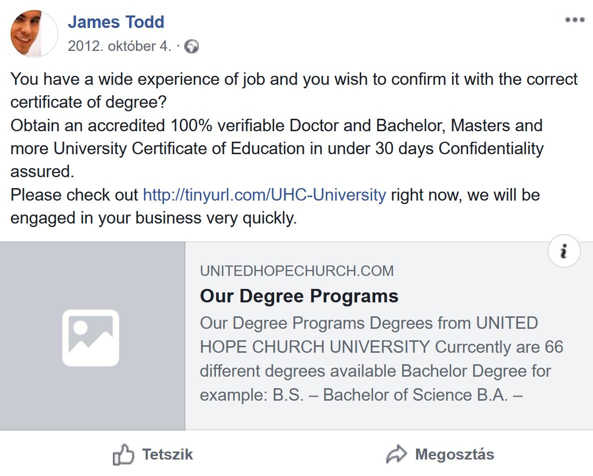"""4. kép: """"James Todd"""" <a href='https://www.facebook.com/rev.james.todd/posts/178575072279303'>Facebook-bejegyzése 2012-ből</a>"""