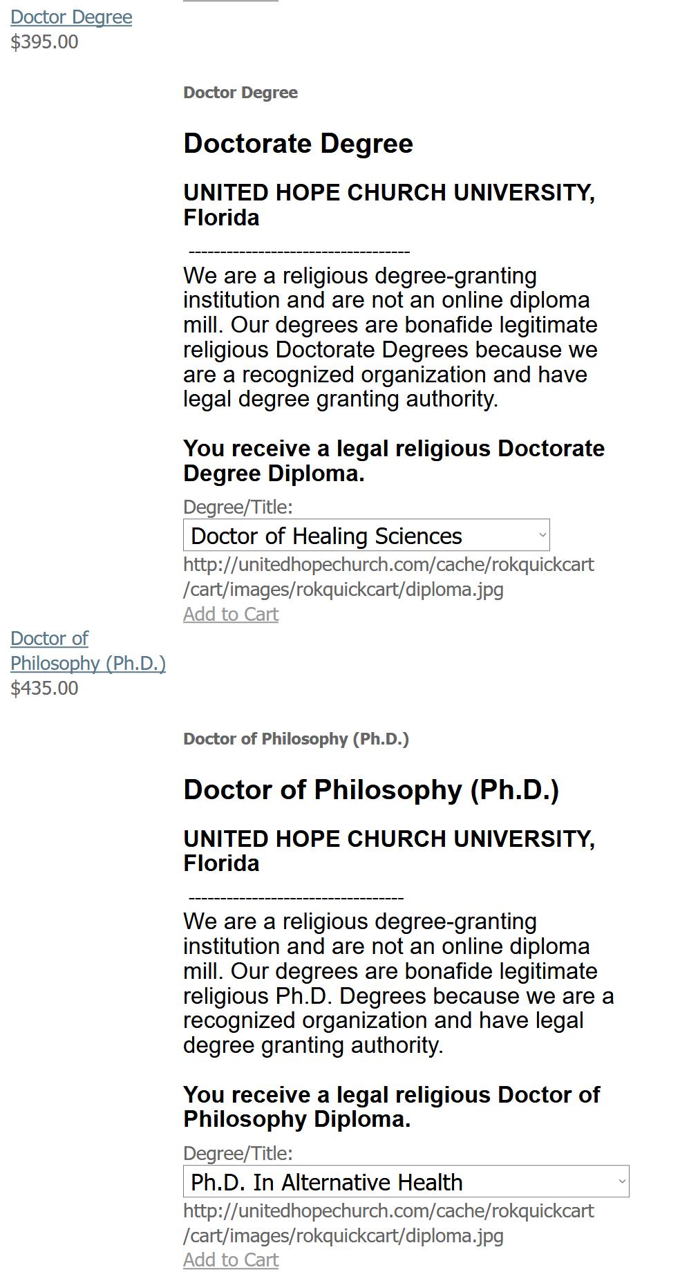 "6. kép: A ""United Hope Church University"" <a href='https://web.archive.org/web/20100408114240/http://unitedhopechurch.com/index.php?option=com_rokquickcart&view=rokquickcart&Itemid=81&lang=en#rokquickcart'>árjegyzékének részlete 2010-ből</a>"