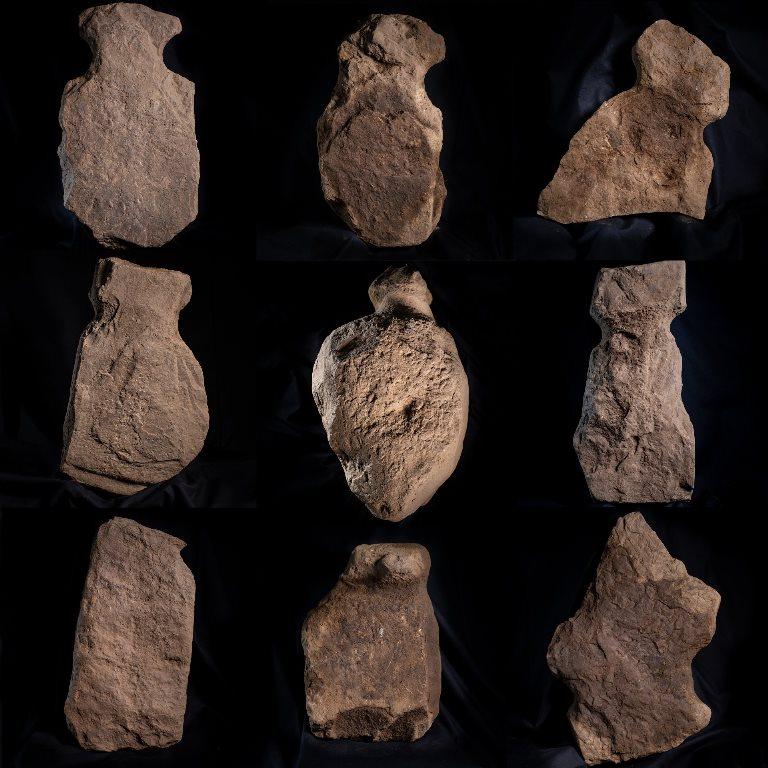 "13. kép: A 9 kő ""figura"" Finstown bronzkori lelőhelyről. https://www.orkney.com/news/finstown-finds?fbclid=IwAR30btg4sH6BY5E5FP6v78Ex54z3ostugApI13OpxP-BM0hfJKemylVm_js"