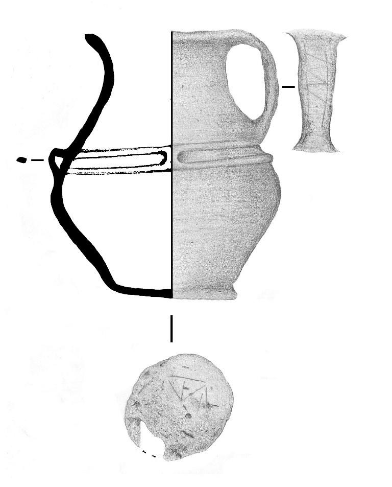 7. kép: Karcolt dísszel ellátott korsó