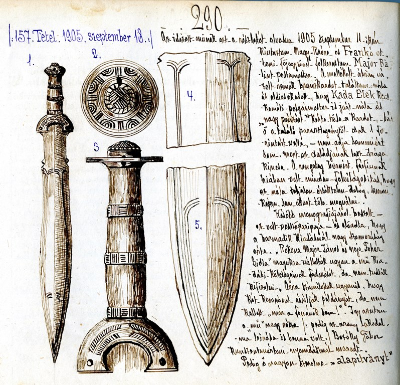 8.Hild Viktor rajzai és jegyzetei a nagyrévi kardról.