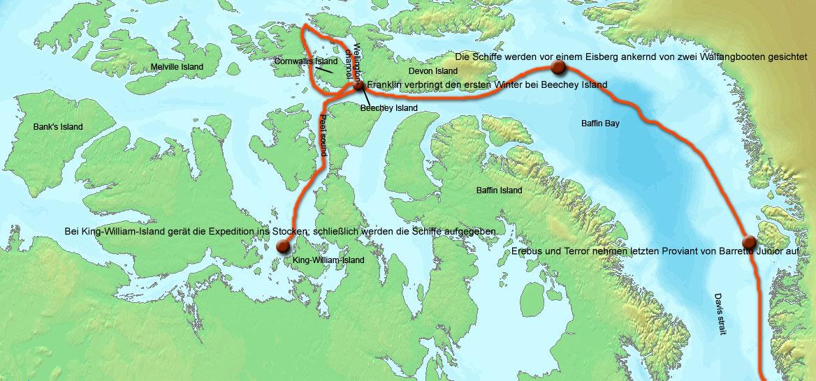 A Franklin-expedíció rekonstruált útvonala