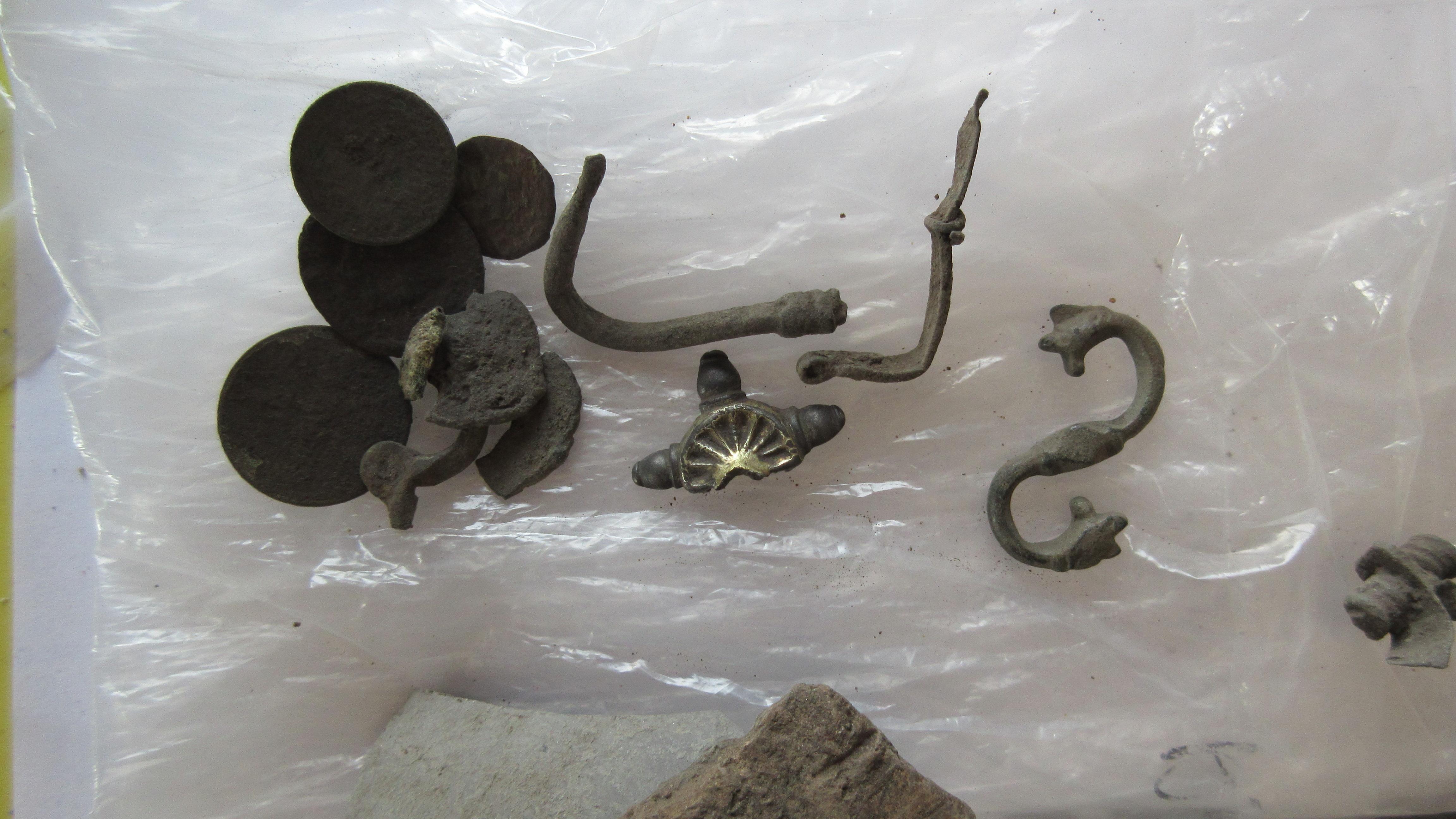 aranyozott ezüst gepida fibula töredéke, 'S' alakú kapocs állatfejekkel, fibulák és érmék