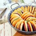 Háromszínű édesburgonya-karikák