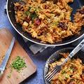 Csirkés-aszaltparadicsomos rizsszem tészta