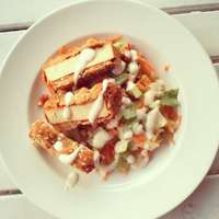 Fried tofu with carrot salad