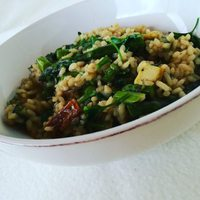 One hour-onion -risotto with roasted tofu and roasted garlicy asparagus