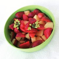 Fresh fruit breakfast for my daughter.  When choosing fruit, select fresh or unsweetened frozen varieties when possible :)