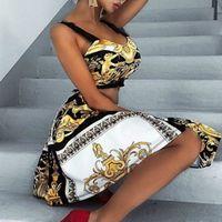Mintás nyomtatott fekete női ruha