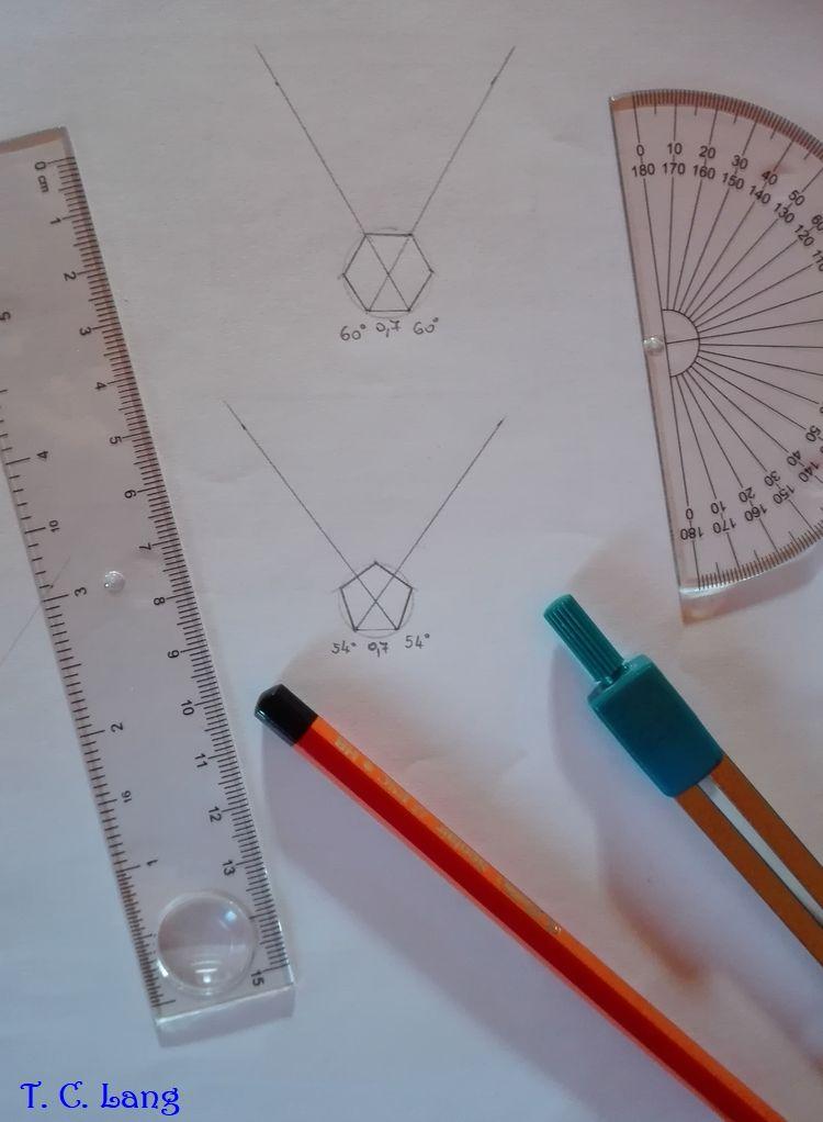 Az ötszögek és hatszögek megrajzolása – körülbelül másfél évtizede használtam utoljára szögmérőt.