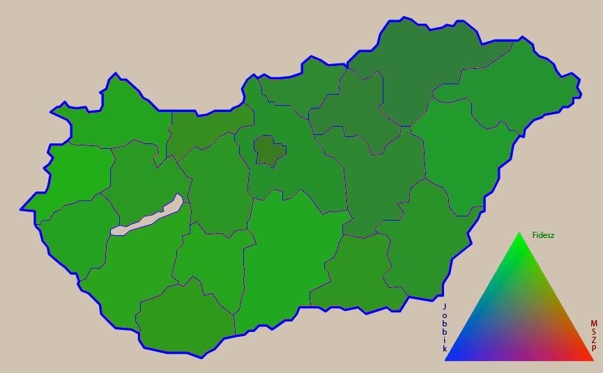 Választási eredmények RGB szintetizációban: R=MSZP, G=Fidesz, B=Jobbik