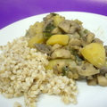 Gombás krumpli Chardonnay-s mustárban, gerslivel