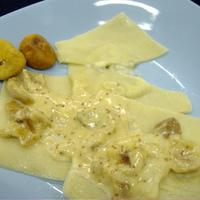 Fügés, márványsajtos ravioli friss tésztából