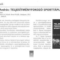 Teljesítményfokozó sporttáplálkozás könyvajánló az Új Diéta* folyóiratban! (Új Diéta, 2012/5-6. 14-15. oldal)