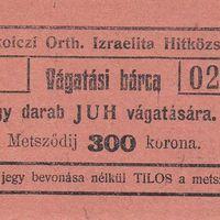 A Miskolczi Orthodox Izraelita Anyahitközség vágatási bárcái, értékjegyei