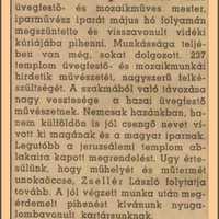 Zsellér Imre üvegfestő és mozaikműves.
