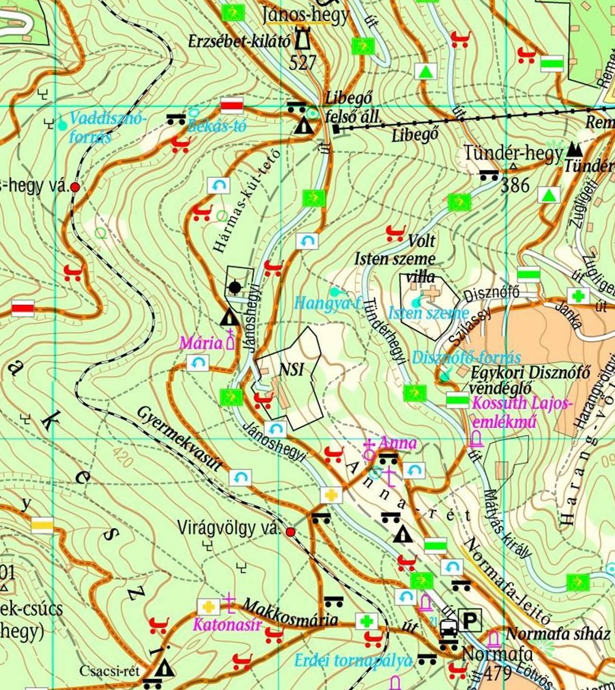 budapest normafa térkép Normafa   János hegy körséta (Budai hg.)   terepgyerek budapest normafa térkép