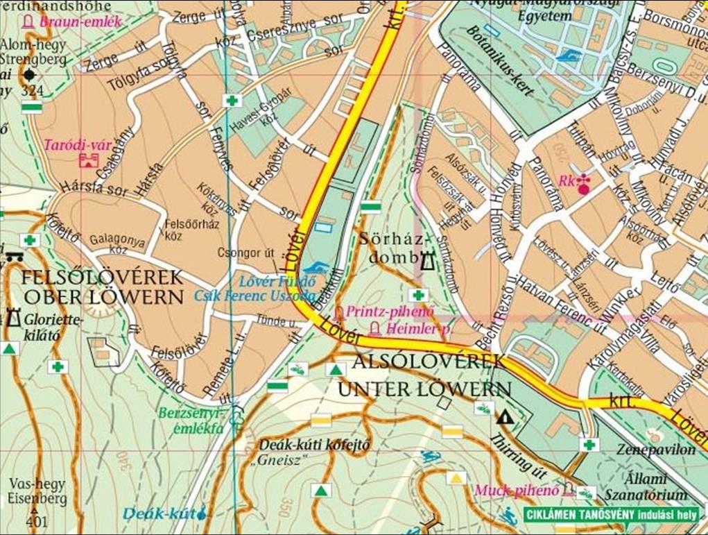 sopron lővérek térkép Sörházdombi kilátó (Soproni hg.)   terepgyerek sopron lővérek térkép