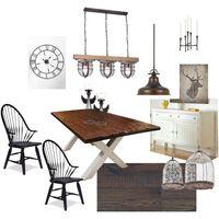 Rusztikus nappali és étkező